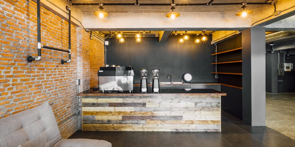 cafe and bar in hotel loft style